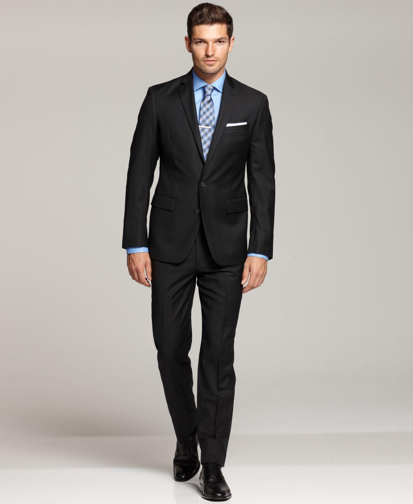 Ryan Seacrest Distinction Black Solid Modern Fit Suit Separates