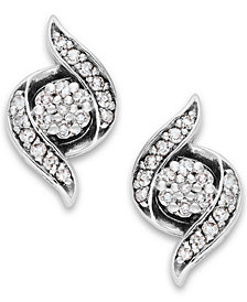 Wrapped in Love™ Diamond Twist Earrings in 14k White Gold (1/4 ct. t.w.), Created for Macy's