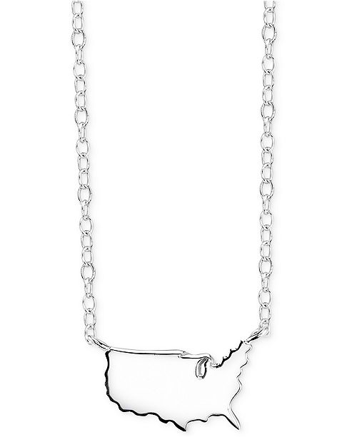 Unwritten United States Mini Pendant Necklaces in Sterling Silver