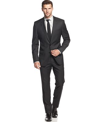 BOSS HUGO BOSS Charcoal Solid Slim-Fit Suit - Suits & Suit ...