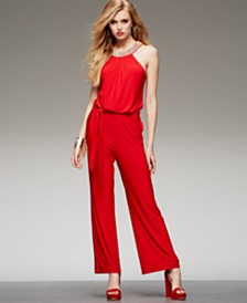XSCAPE Embellished Halter Jumpsuit
