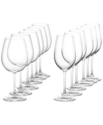 Vintage 12 Piece Red & White Wine Glass Set