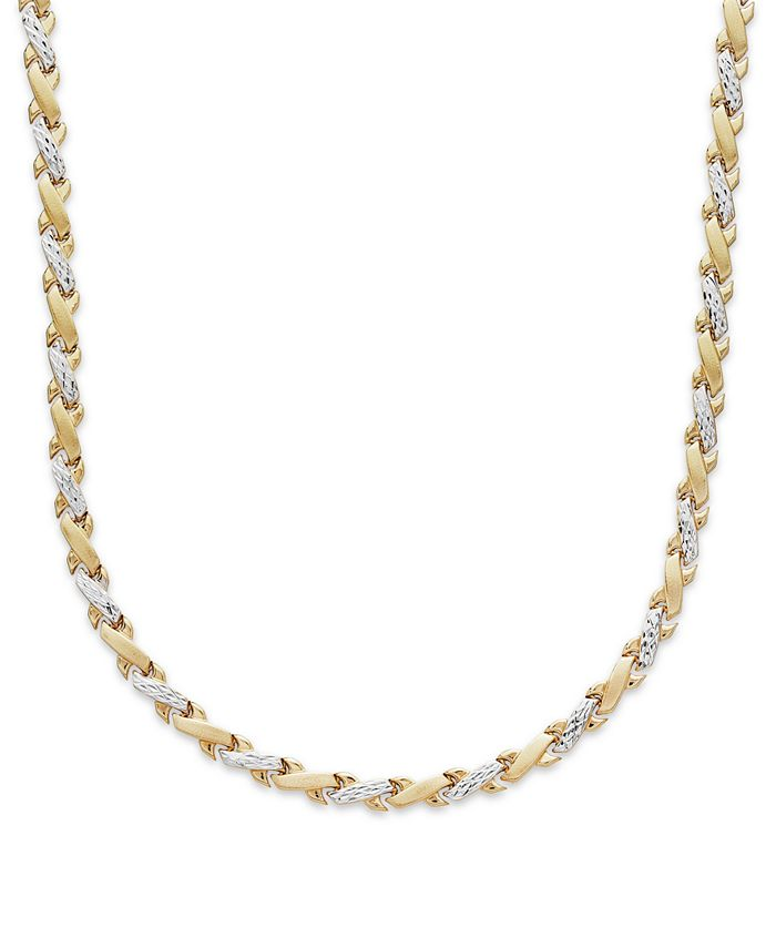 Italian Gold - X-Necklace in 10k Yellow and White Gold
