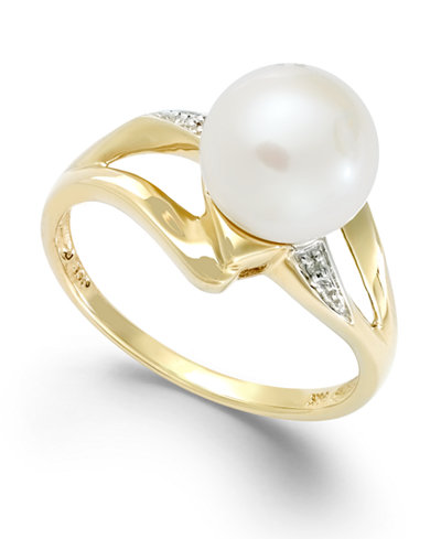 Cultured Freshwater Pearl (8mm) and Diamond Accent Ring in 14k Gold