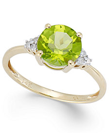 Peridot (2 ct. t.w.) and Diamond Accent Ring in 14k Gold