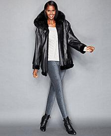 The Fur Vault Leather & Rabbit Fur Reversible Hooded Jacket
