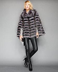 The Fur Vault Fox & Sheared Rabbit Fur Poncho