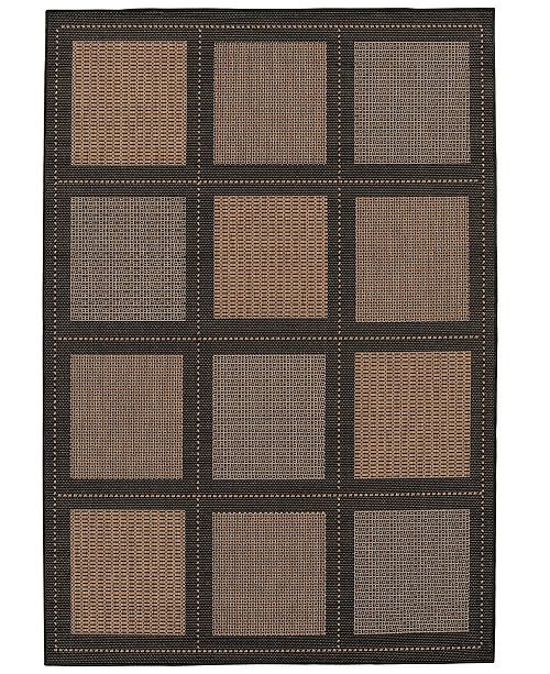 "Couristan CLOSEOUT! Recife Summit Cocoa/Black 2'3"" x 11'9"" Indoor/Outdoor Runner"