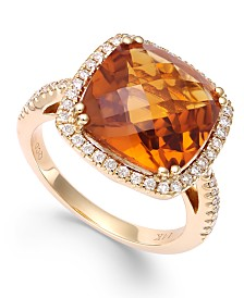 Citrine (6 ct. t.w.) and Diamond (1/3 ct. t.w.) Ring in 14k Gold