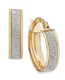Glitter Hoop Earrings in 14k Rose Gold, White Gold or Gold