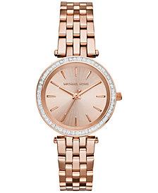 Michael Kors Women's Mini Darci Rose Gold-Tone Stainless Steel Bracelet Watch 33mm MK3366