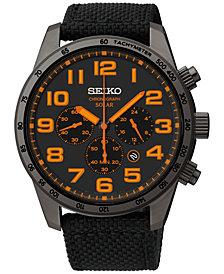 Seiko Men's Chronograph Solar Black Nylon Strap Watch 45mm SSC233
