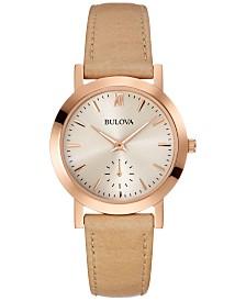 Bulova Women's Beige Leather Strap Watch 32mm 97L146