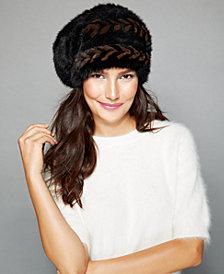 The Fur Vault Herringbone Knitted Mink Slouchy Beret