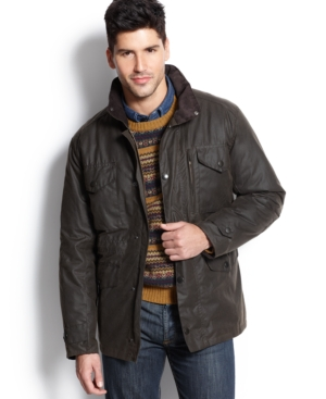 This military-inspired jacket from Barbour features a stowaway hood and waxed coating to brave the elements.