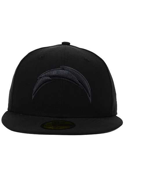b964ccfc9 ... New Era San Diego Chargers NFL Black on Black 59FIFTY Fitted Cap ...
