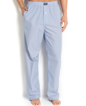 Polo Ralph Lauren Big and Tall Blue Classic Andrew Stripe Cotton Men's Pajama Pants
