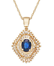 Sapphire (9/10 ct. t.w.) and Diamond (1/2 ct. t.w.) Pendant Necklace in 14k Gold