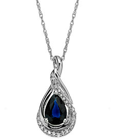 Sapphire (9/10 ct. t.w.) and Diamond Accent Wrap Pendant Necklace in 14k White Gold