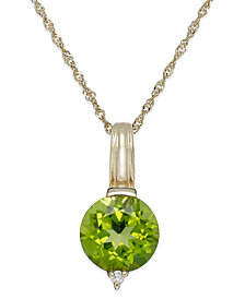 Peridot (2-1/4 ct. t.w.) and Diamond Accent Oval Pendant Necklace in 14k Gold
