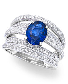 Royale Bleu by EFFY Diffused Sapphire (1-9/10 ct. t.w.) and Diamond (7/8 ct. t.w.) Ring in 14k White Gold