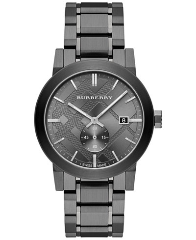 burberry men s swiss light gray ion plated stainless steel burberry men s swiss light gray ion plated stainless steel bracelet watch 42mm bu9902