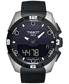 Men's Swiss Analog-Digital T-Touch Expert Solar Black Leather Strap Watch 45mm T0914204605100