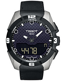 Tissot Men's Swiss Analog-Digital T-Touch Expert Solar Black Leather Strap Watch 45mm T0914204605100