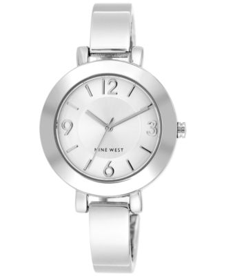 Image of Nine West Women's Silver-Tone Bangle Bracelet Watch 34mm NW/1631SVSB
