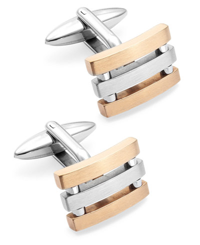 Sutton by Rhona Sutton Men's Stainless Steel and Rose Gold-Tone Three-Row Cuff Links