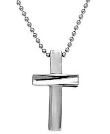 Sutton by Rhona Sutton Men's Stainless Steel Cross Pendant Necklace