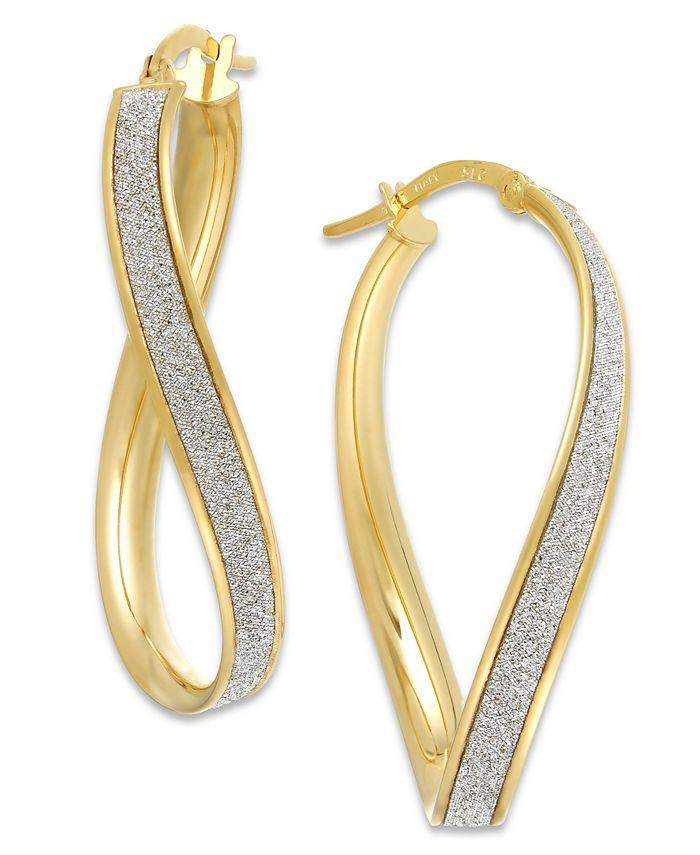 Italian Gold - Glitter Wavy Hoop Earrings in 14k Gold
