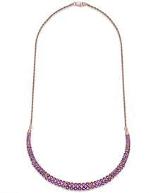 Amethyst Two-Row Frontal Necklace in 14k Rose Gold over Sterling Silver (9-5/8 ct. t.w.)