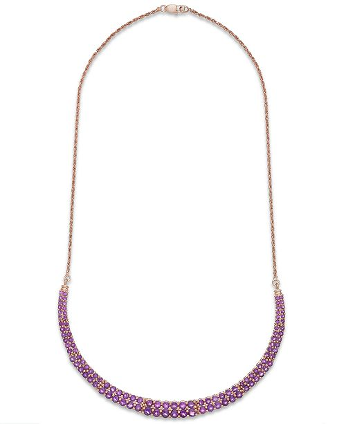 Macy's Amethyst Two-Row Frontal Necklace in 14k Rose Gold over Sterling Silver (9-5/8 ct. t.w.)