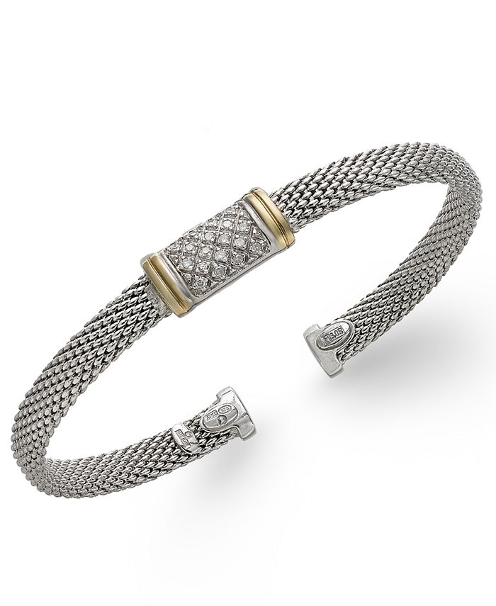 Macy's - Diamond Mesh Bangle Bracelet in 14k Gold and Sterling Silver (1/8 ct. t.w.)