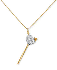 SIS by Simone I. Smith Clear Crystal Heart Lollipop Small Pendant Necklace in 18k Gold over Sterling Silver
