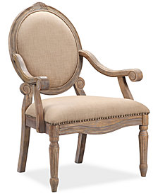 Rory Fabric Oval Back Accent Chair, Quick Ship
