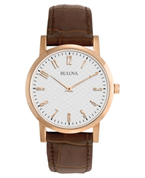 Bulova Men's Brown Leather Strap Watch 38mm 97A106