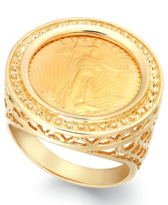Genuine US Eagle Coin Ring in 22k and 14k Gold Rings Jewelry