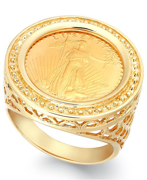 51580e2388afc Genuine US Eagle Coin Ring in 22k and 14k Gold