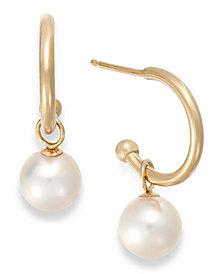 Cultured Freshwater Pearl Hoop Earrings in 14k Gold (6mm)