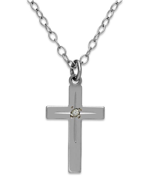 Macy's Children's Diamond Accent Star Cross Pendant Necklace in 14k White Gold