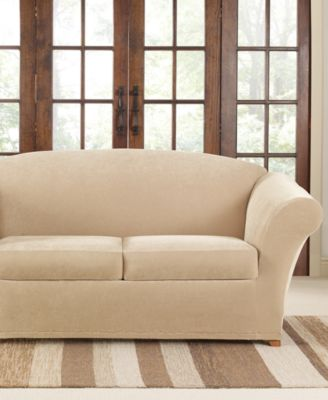 Stretch Pique 2 Cushion Loveseat Slipcover