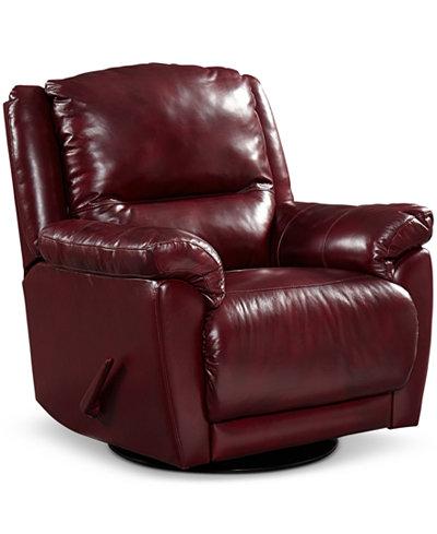 Hughstin Leather Swivel Glider Recliner Furniture Macys – Leather Swivel Glider Chair