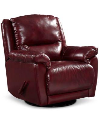 hughstin leather swivel glider recliner
