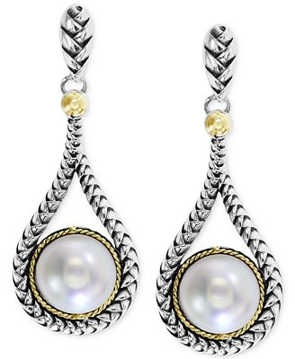 Balissima by EFFY Cultured Freshwater Pearl Teardrop Earrings in 18k Gold and Sterling Silver (8mm)