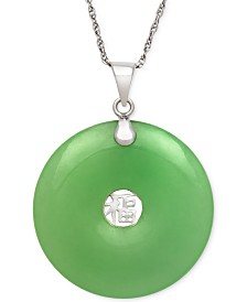 Dyed Jade Symbol Pendant Necklace in Sterling Silver (25mm)