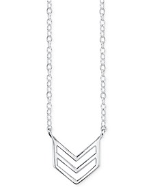 Chevron Stationary Pendant Necklace in Sterling Silver