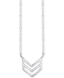 Unwritten Chevron Stationary Pendant Necklace in Sterling Silver