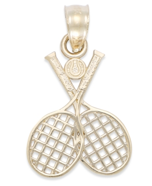 Double Tennis Racquet Charm in 14k Gold